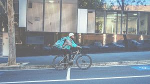 Deliveroo Rider on the road